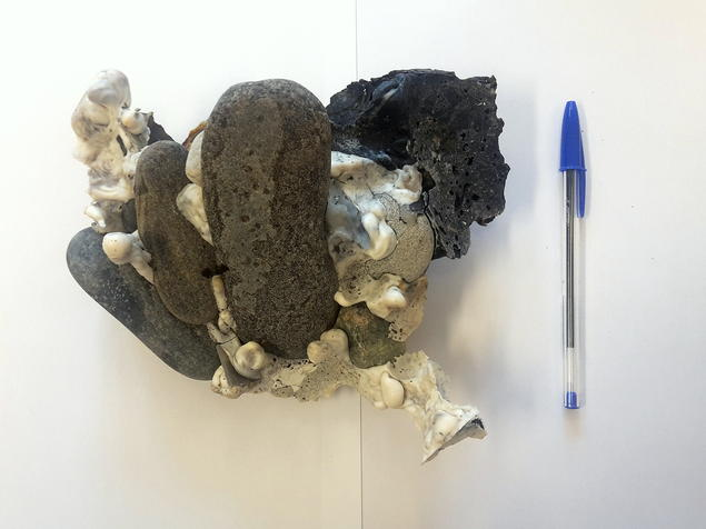 Plastiglomerates: Much of the material Pétursdóttir analyses cannot be traced to a specific place or culture. It has, moreover, been thoroughly transformed and removed from its initial function. Here, Pétursdóttir has photographed a 'plastiglomerate'—natural materials held together by plastic. Photograph: Þóra Pétursdóttir