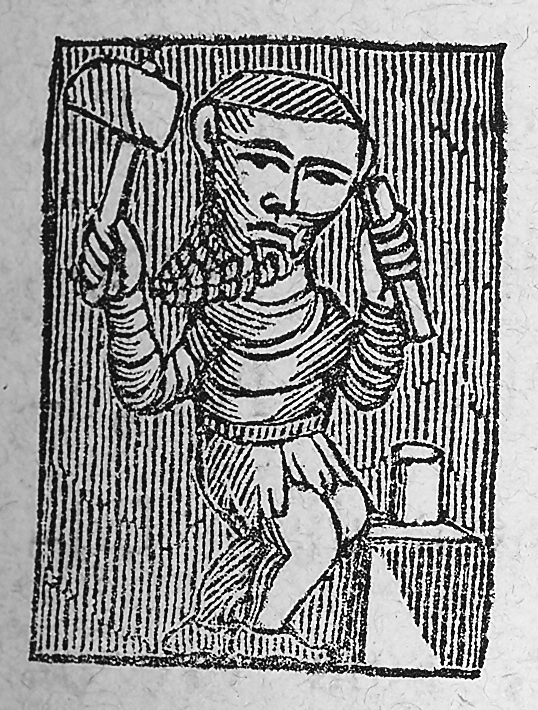 A coin-maker depicted on a 'piece of masonry' from the twelfth century, recovered amongst ruins close to Rouen (France). Photo: After Schive 1865:XV.