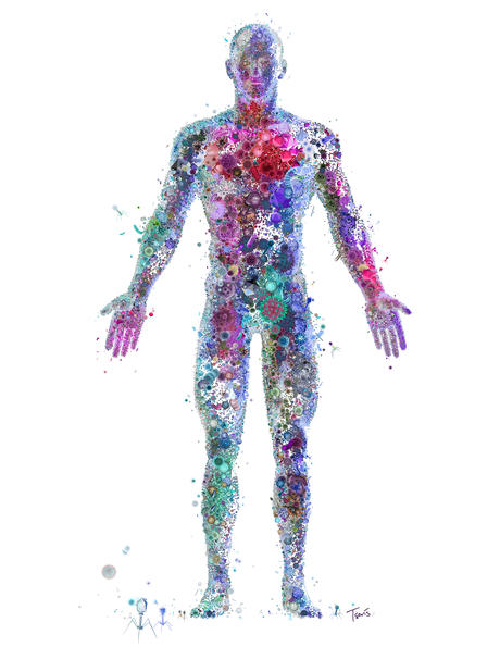 Our bodies are made up of many different particles, including bacteria. Because of this, bacteria are an important part of what makes us human. (Illustration: Flickr / Charis Tsevis)