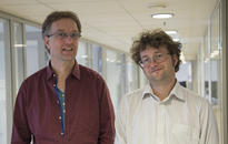 Stephan Oepen (left) and Dag Trygve Truslew Haug, professors of informatics and classics, respectively, at the University of Oslo, during their residency at CAS. Photo: Camilla Kottum Elmar