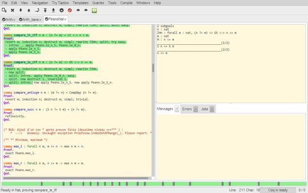 An interactive proof session in CoqIDE, showing the proof script on the left and the proof state on the right.
