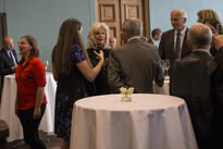 CAS Oslo Scientific Director Vigdis Broch-Due chats with attendees during opening of the 25th anniversary year. Photo: Camilla Kottum Elmar
