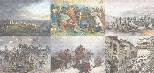 Collection of paintings and photos from different civil wars throughout the times.