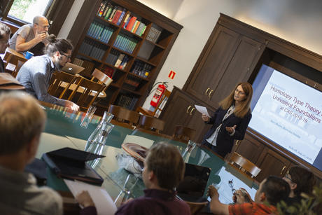 Camilla Serck-Hanssen, scientific director of the Centre for Advanced Study (CAS), speaks during a conference on 27 August 2018. Photo: Camilla K. Elmar