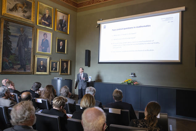 Marc Bezem, professor of informatics at the University of Bergen (UiB), speaks during the opening of the 2018/19 academic year at the Centre for Advanced Study (CAS). Photo: Camilla K. Elmar