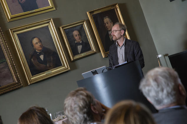 Michael Stausberg, professor of religion at the University of Bergen (UiB), speaks during the opening of the 2018/19 academic year at the Centre for Advanced Study (CAS). Photo: Camilla K. Elmar