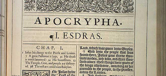 Apocrypha from 1611 King James Bible, 1st edition. Courtesy of Rare Book and Manuscript Library, University of Pennsylvania.