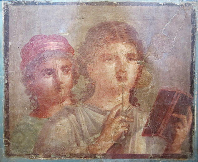 Ancient Roman fresco from Herculaneum depicting two women with a stylus and a wax tablet. Photo: Museo Archeologico Nazionale di Napoli