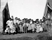 The influenza pandemic hit the native communities in Alaska hard. These children in an orphanage in Nushagak, Alaska, lost their parents. Summer of 1919. Source: Alaska Historical Library
