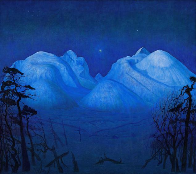 """If you ask two painters to paint the same landscape, he continues, the results will most likely be different, and it can even be impossible to recognise which landscape it is. 'It is sort of the same with the subject we call Motivic Homotopy Theory', Paul Arne Østvær says. """"Vinternatt i Rondane"""" by the Norwegian painterHarald Sohlberg. Photo: Nasjonalmuseet"""