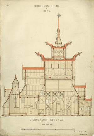 """The church of Borgund, """"As it is"""" (1861). Drawing made by Herman Major Schirmer (1845-1913). Photo: The Directorate for Cultural Heritage."""