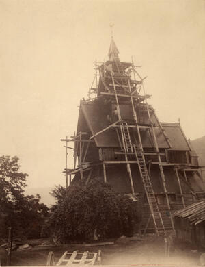 Restoration of Hopperstad church in Vik in Sogn, 1885-1891. The restoration was carried out by architect Peter Andreas Blix (1831-1901). Photo: Unknown/The Directorate for Cultural Heritage