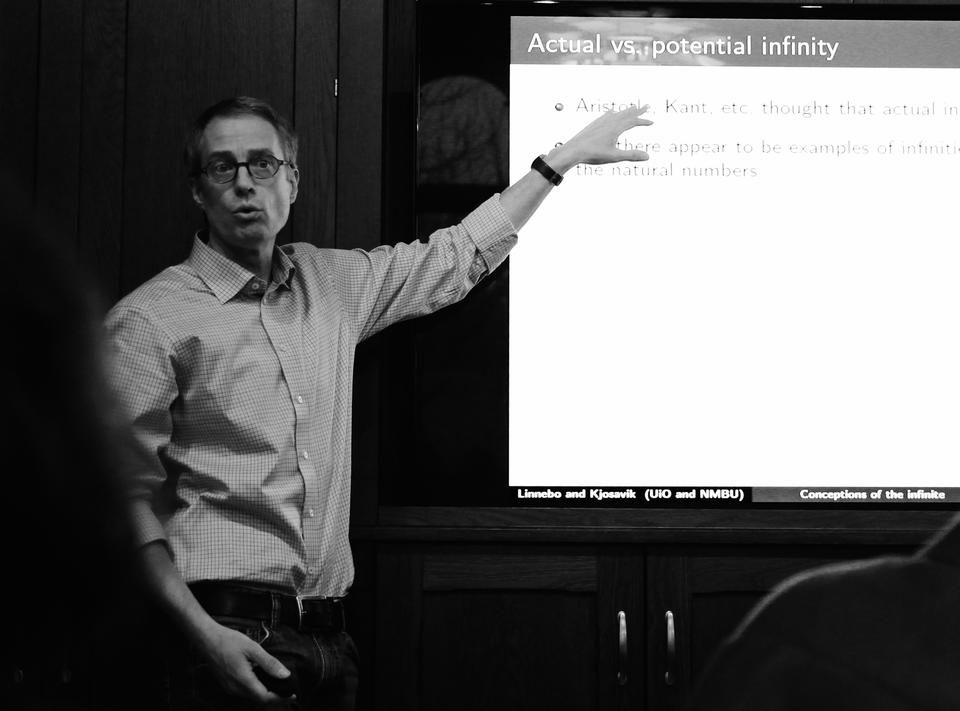 Professor Øystein Linnebo is as much of a mathematician as a philosopher. Here during one of CAS' lunch seminars.